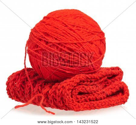 Bright woolen thread with knitted scarf isolated on white background