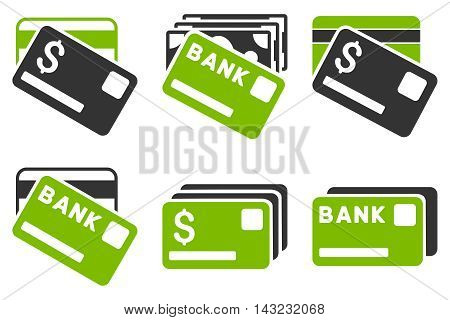 Banking Cards vector icons. Pictogram style is bicolor eco green and gray flat icons with rounded angles on a white background.