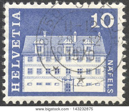 MOSCOW RUSSIA - CIRCA JUNE 2016: a post stamp printed in SWITZERLAND shows Freuler Mansion Nafels circa 1968