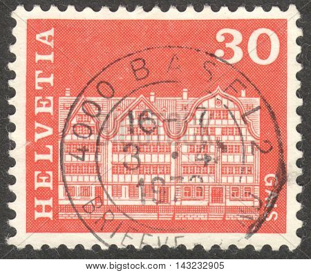 MOSCOW RUSSIA - CIRCA JUNE 2016: a post stamp printed in SWITZERLAND shows Gabled houses Gais circa 1968