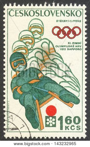 MOSCOW RUSSIA - CIRCA JUNE 2016: a post stamp printed in CZECHOSLOVAKIA shows Bobsleighing the series