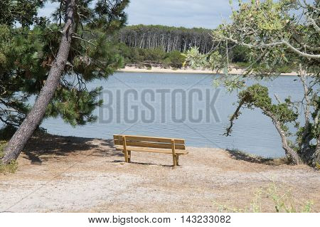 Wooden bench in front of the beautiful sea