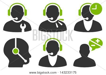 Call Center Operator vector icons. Pictogram style is bicolor eco green and gray flat icons with rounded angles on a white background.
