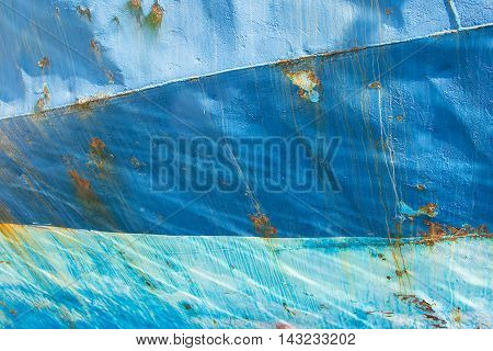 Old Blue Painted Metal. Abstract Vintage Background. Rusty Metal Texture With Cracked Paint. Three Shades of Blue.
