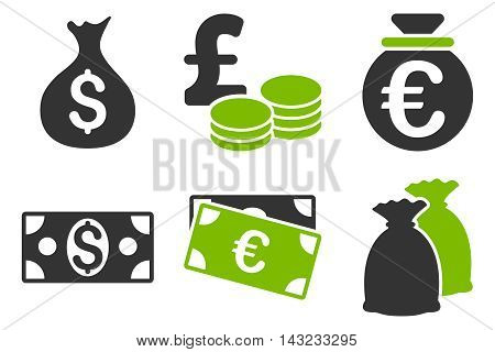 Cash Money vector icons. Pictogram style is bicolor eco green and gray flat icons with rounded angles on a white background.