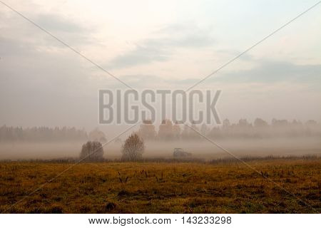 Tractor rides through the field covered with fog at dawn in front of forest