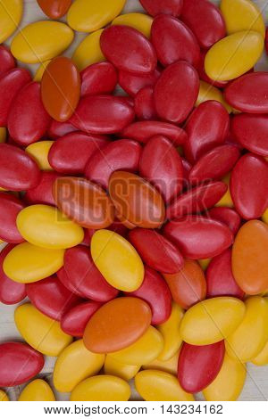 Chocolate Drops With Bright Orange And Yellow Color