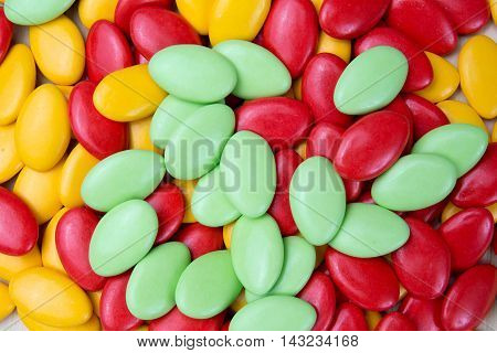 Chocolate Drops With Bright Orange, Yellow And Green Color