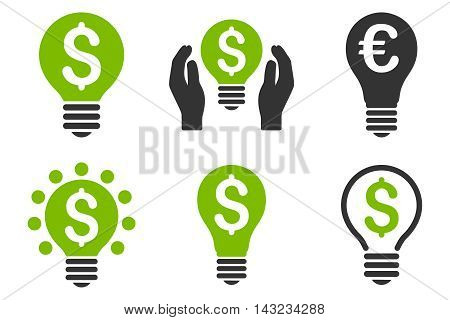 Electric Light Price vector icons. Pictogram style is bicolor eco green and gray flat icons with rounded angles on a white background.