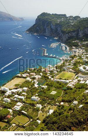 Aerial photo of Marina Grande on Capri island, Campania, Italy