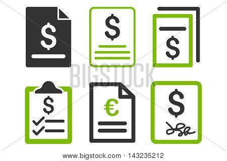 Invoice vector icons. Pictogram style is bicolor eco green and gray flat icons with rounded angles on a white background.