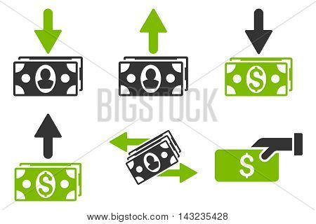 Pay Banknotes vector icons. Pictogram style is bicolor eco green and gray flat icons with rounded angles on a white background.