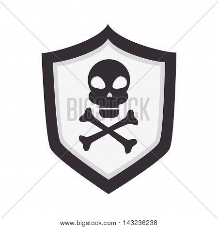 skull shield danger alert caution attention dangerous warning vector illustration