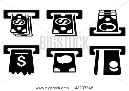 ATM Cashpoint vector icons. Pictogram style is black flat icons with rounded angles on a white background.