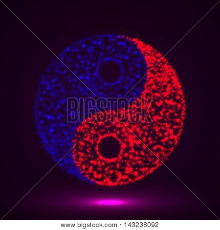 Abstract symbol ying yang of glowing particles