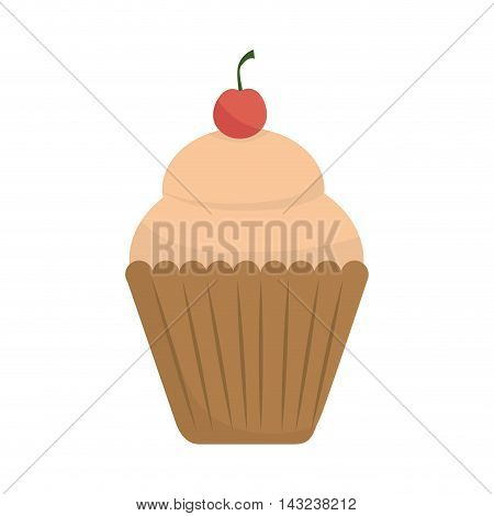 cupcake muffin strawberry dessert bakery cream cherry food sugar vector illustration