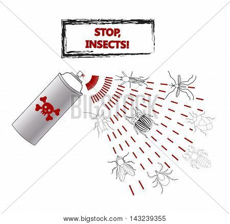 Spray against insects insecticides. anti pesticides, spiders, bugs, aphids, face of dead insect in poison toxic cloud isolated on white backgrond, illustration sign