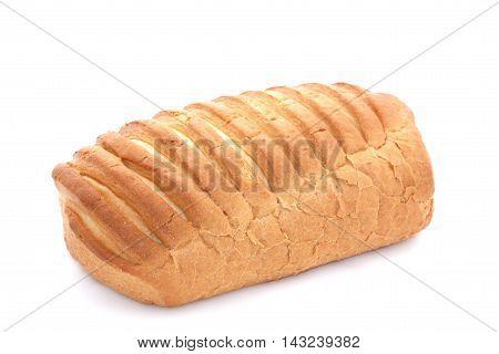 Baton Of Wheat Bread On A White Background