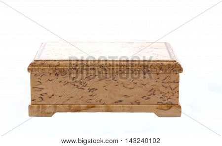 Box Of Karelian Birch On White Background