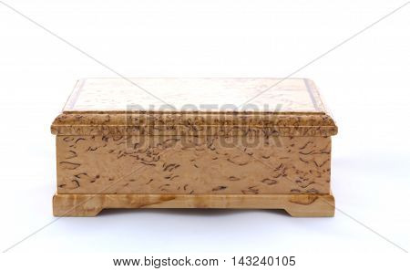 Box Of Karelian Birch On White Background With Shadow
