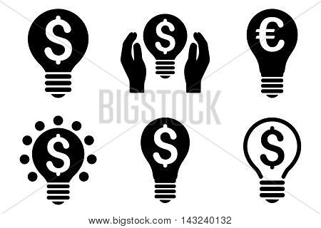 Electric Light Price vector icons. Pictogram style is black flat icons with rounded angles on a white background.