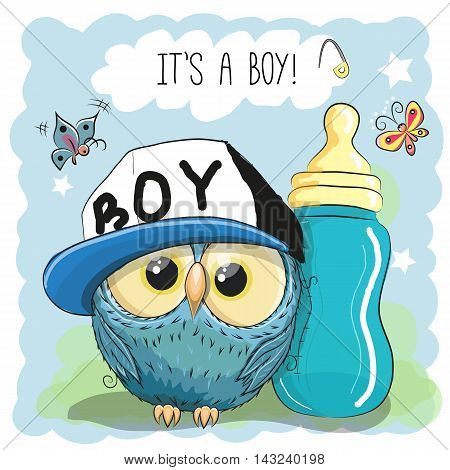 Cute Cartoon Owl boy with feeding bottle
