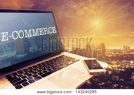 E-COMMERCE : Grey screen laptop computer. Vintage effects. Digital Business and Technology Concept.