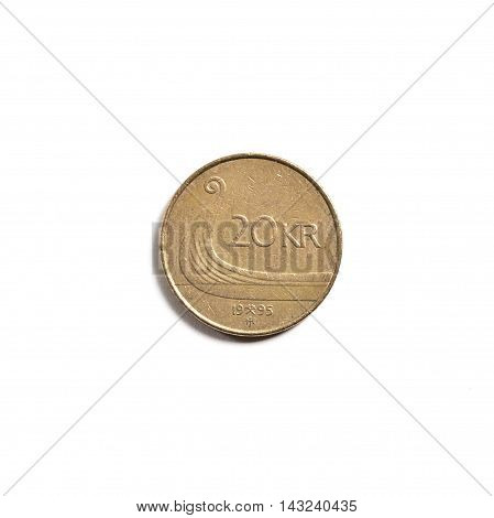 Norwegian 20 kr crown currency isolated on white background