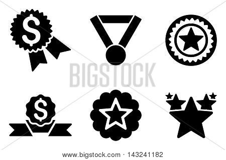 Reward vector icons. Pictogram style is black flat icons with rounded angles on a white background.