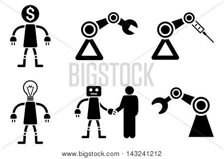 Robot vector icons. Pictogram style is black flat icons with rounded angles on a white background.