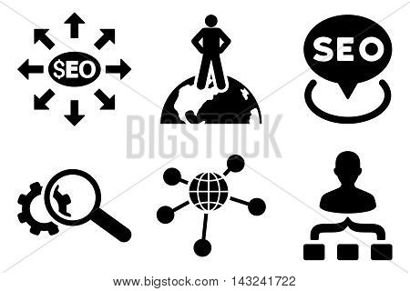 Seo Marketing vector icons. Pictogram style is black flat icons with rounded angles on a white background.