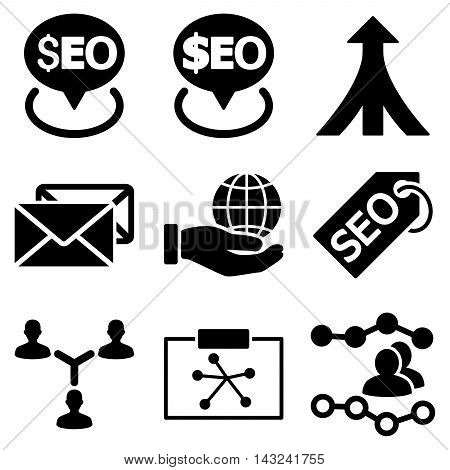 Seo vector icons. Pictogram style is black flat icons with rounded angles on a white background.