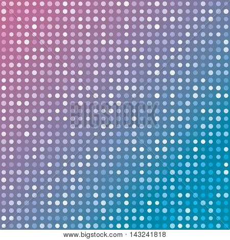 Blue and pink gradient background of multiples dots. Fashion trends circles backdrop. Vector illustration. May use for modern background, digital, website template...