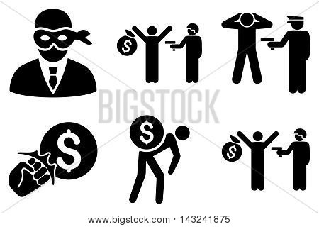 Thief Arrest vector icons. Pictogram style is black flat icons with rounded angles on a white background.