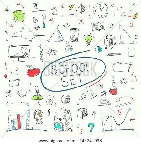 school big doodles set on blackboard. Vector illustration.