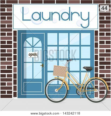 Banner with the word laundry and bubbles. Vector illustration.