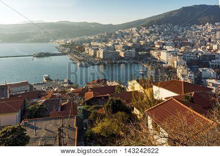 Amazing Panorama to port of Kavala, East Macedonia and Thrace, Greece