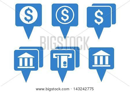 Bank Map Pointers vector icons. Pictogram style is cobalt flat icons with rounded angles on a white background.