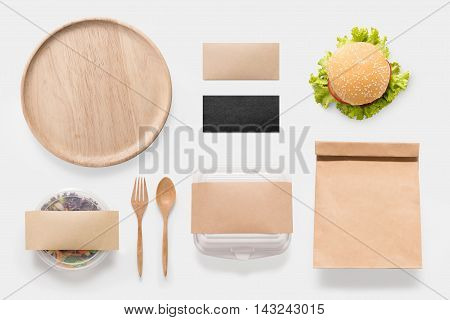 Design Concept Of Mockup Burger And Salad Set Isolated On White Background. Copy Space For Text And