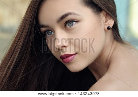Close-up Portrait Of A Beautiful Girl.