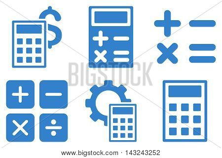 Calculator vector icons. Pictogram style is cobalt flat icons with rounded angles on a white background.