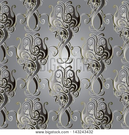 Grey elegant stylish  seamless pattern background with gold vintage ornaments in victorian style. Elegant 3d decorative elements with shadow and highlights. Elegant luxury texture.