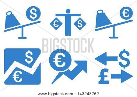 Currency Trading vector icons. Pictogram style is cobalt flat icons with rounded angles on a white background.