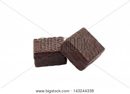chocolate wafers dessert on a white background