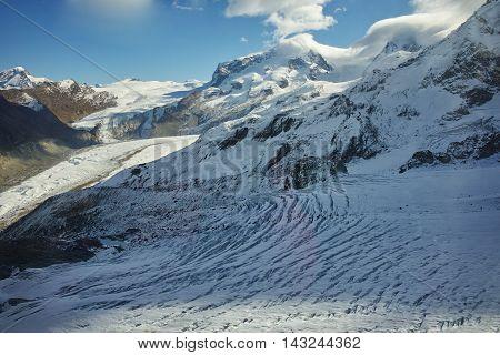 Amazing winter panorama from matterhorn glacier paradis Alps, Switzerland