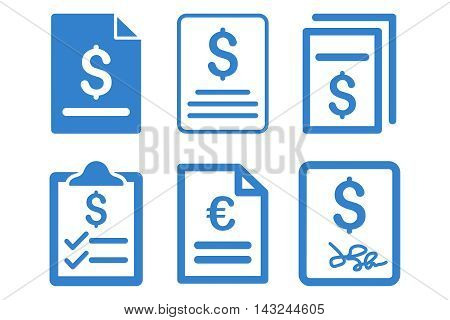Invoice vector icons. Pictogram style is cobalt flat icons with rounded angles on a white background.