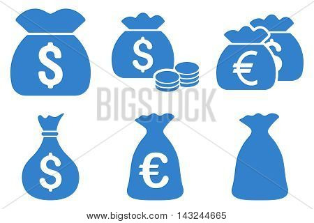 Money Bag vector icons. Pictogram style is cobalt flat icons with rounded angles on a white background.