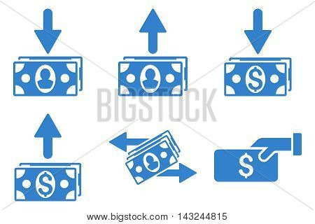 Pay Banknotes vector icons. Pictogram style is cobalt flat icons with rounded angles on a white background.