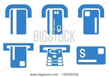 Payment Terminal vector icons. Pictogram style is cobalt flat icons with rounded angles on a white background.