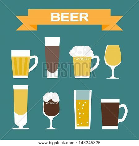 Set of beer glassware. Flat cartoon vector illustration. Wheat lager craft ale stout